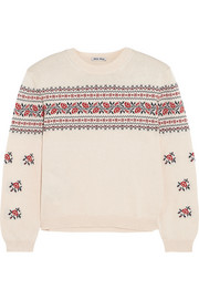 Floral-intarsia cotton sweater