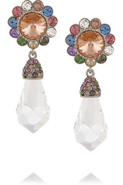 Miu Miu Palladium-tone Swarovski crystal clip earrings