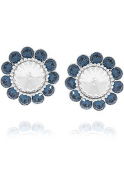 Silver-plated crystal clip earrings