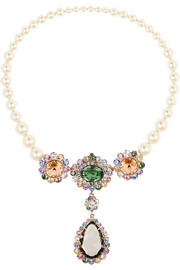 Miu Miu Palladium-tone, faux pearl and Swarovski crystal necklace
