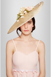 Flower-embellished sinamay hat
