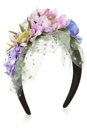 Piers Atkinson Flower-embellished satin and point d'esprit headband