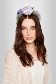 Flower-embellished satin and point d'esprit headband