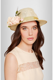 Piers Atkinson Flower-embellished sinamay trilby