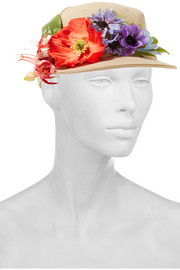 Flower-embellished canvas cap