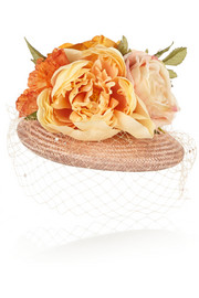 Flower-embellished straw hat