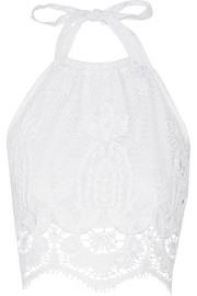 Miguelina Mari crocheted cotton halterneck top