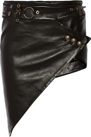 Wrap-effect asymmetric leather mini skirt