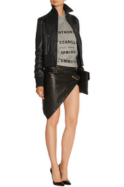Embellished leather bomber jacket