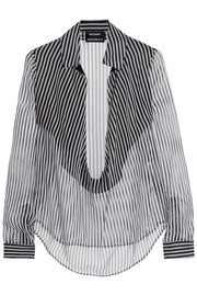 Striped silk-mousseline blouse