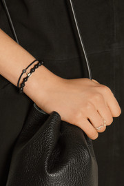 IAM by Ileana Makri Set of two oxidized silver, diamond, enamel and ebony bracelets