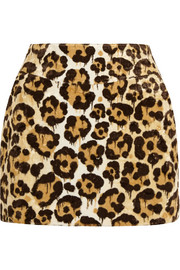 Le Fauve leopard-print faux fur mini skirt