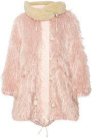 Fluffy shearling-trimmed faux fur coat