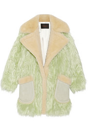 Fluff shearling-trimmed faux fur coat