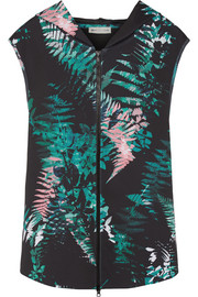 Hooded printed neoprene gilet
