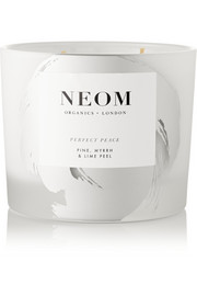 Neom Organics Perfect Peace Pine, Myrrh and Lime Peel scented candle, 380g