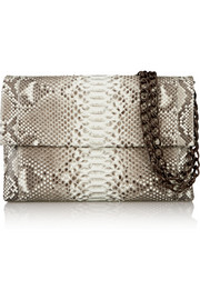 Crocodile-trimmed python shoulder bag