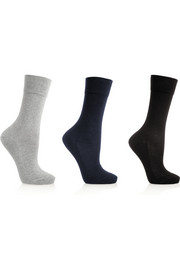 Set of three stretch-cotton socks