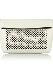 Abril laser-cut leather clutch