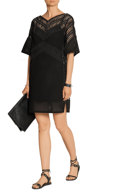 DKNY Eyelet cotton mini dress