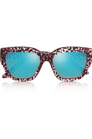 Hermosa cat-eye printed acetate sunglasses