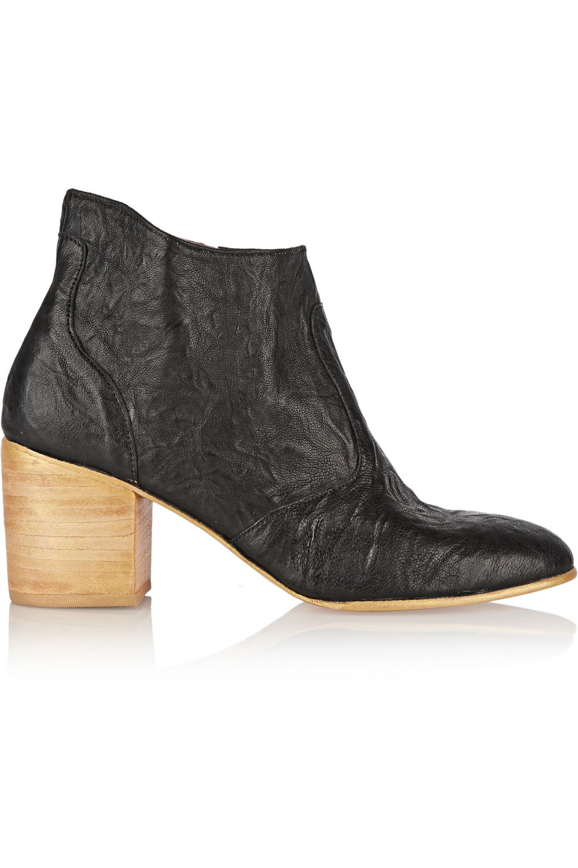 Black Jill wrinkled leather ankle boots