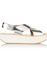 Malabar mirrored-leather platform sandals