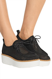 Titus suede-trimmed crocheted mesh platform loafers