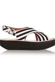 Striped canvas platform sandals