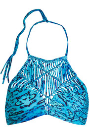 Waimea crocheted printed bikini top