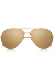 Aviator gold-plated mirrored sunglasses
