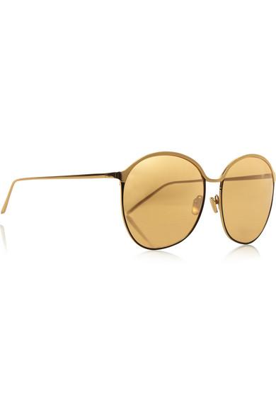 Linda Farrow Gold-plated round-frame mirrored sunglasses ...
