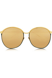 Gold-plated round-frame mirrored sunglasses