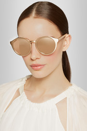 Round-frame gold-plated and elaphe sunglasses