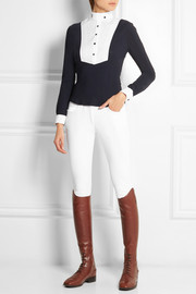 Cavalleria Toscana Stretch-cotton poplin and jersey top