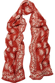 Cutout printed cotton scarf