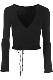 Belle wrap-front knitted jersey top