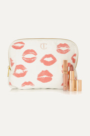 Printed cotton-canvas cosmetics case
