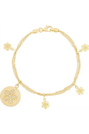 Lucky Diamonds 18-karat gold diamond charm bracelet