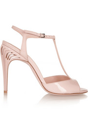 Patent-leather T-bar sandals