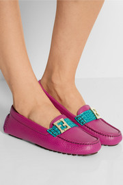 Fendi Two-tone textured-leather loafers