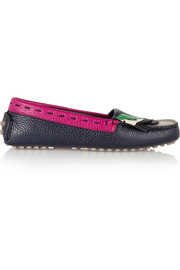 Fendi Bag Bugs textured-leather moccasins