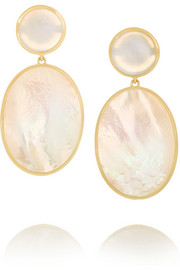 Ippolita Rock Candy Snowman 18-karat gold mother-of-pearl earrings