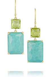 Rock Candy 18-karat gold, peridot and turquoise earrings