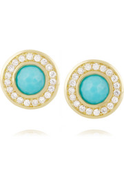 Lollipop 18-karat gold, turquoise and diamond earrings