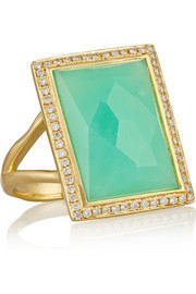 Rock Candy 18-karat gold, chrysoprase and diamond ring