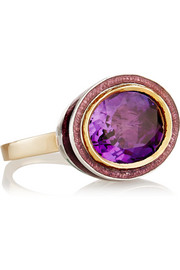 14-karat gold, silver, amethyst and enamel ring