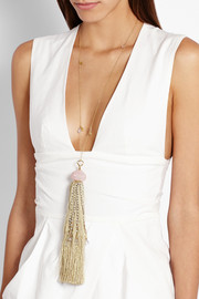 Stone Temple Tassel 18-karat gold multi-stone necklace