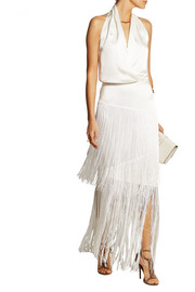 Fringed silk-charmeuse skirt