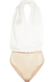Silk-charmeuse and stretch-tulle bodysuit